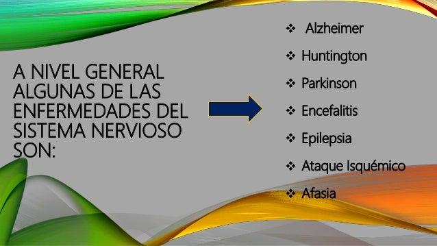 A NIVEL GENERAL ALGUNAS DE LAS ENFERMEDADES DEL SISTEMA NERVIOSO SON:  Alzheimer  Huntington  Parkinson  Encefalitis ...
