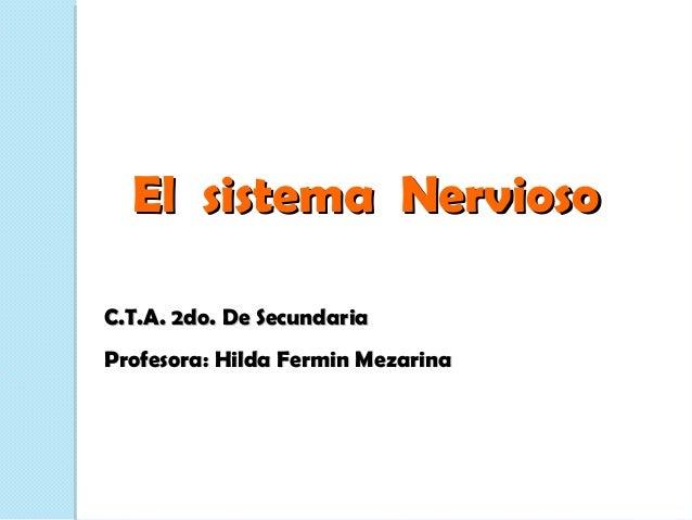 El sistema NerviosoEl sistema Nervioso C.T.A. 2do. De SecundariaC.T.A. 2do. De Secundaria Profesora: Hilda Fermin Mezarina...