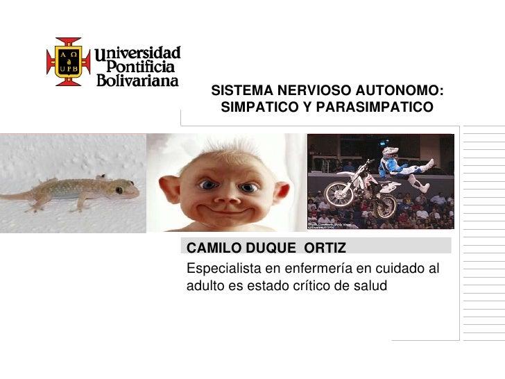 SISTEMA NERVIOSO AUTONOMO:    SIMPATICO Y PARASIMPATICOCAMILO DUQUE ORTIZEspecialista en enfermería en cuidado aladulto es...