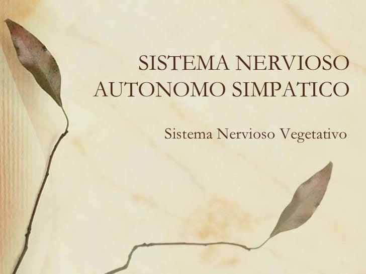 SISTEMA NERVIOSOAUTONOMO SIMPATICO     Sistema Nervioso Vegetativo