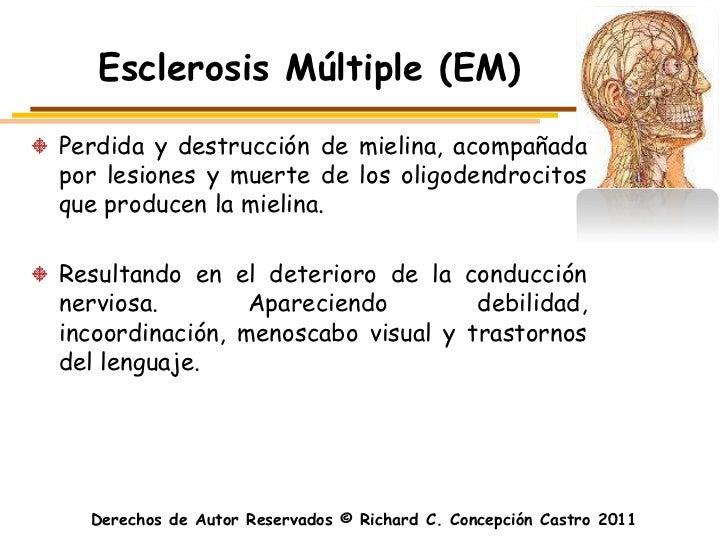 Esclerosis Múltiple (EM)Perdida y destrucción de mielina, acompañadapor lesiones y muerte de los oligodendrocitosque produ...