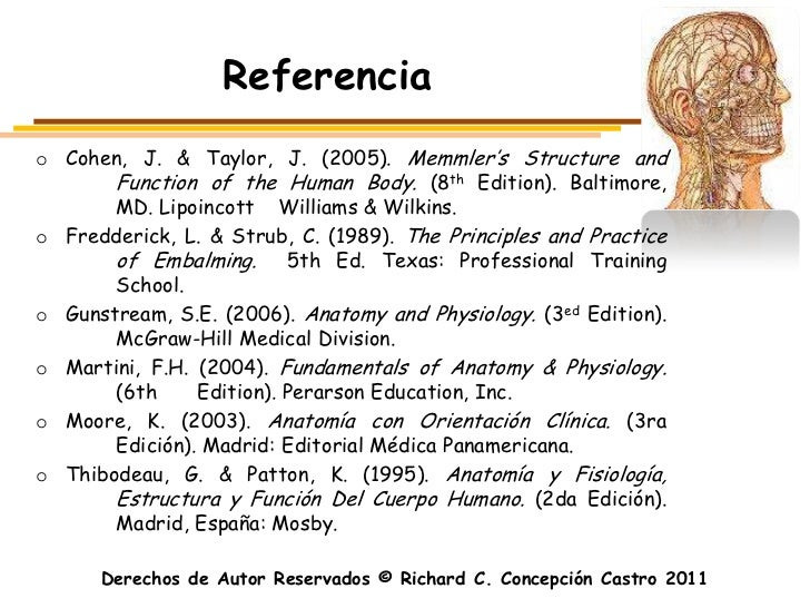 Referenciao Cohen, J. & Taylor, J. (2005). Memmler's Structure and       Function of the Human Body. (8th Edition). Baltim...