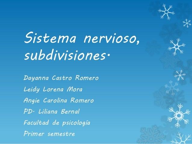 Sistema nervioso, subdivisiones. Dayanna Castro Romero Leidy Lorena Mora Angie Carolina Romero PD. Liliana Bernal Facultad...