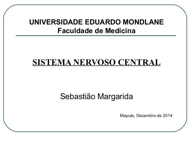 UNIVERSIDADE EDUARDO MONDLANE Faculdade de Medicina SISTEMA NERVOSO CENTRAL Sebastião Margarida Maputo, Dezembro de 2014