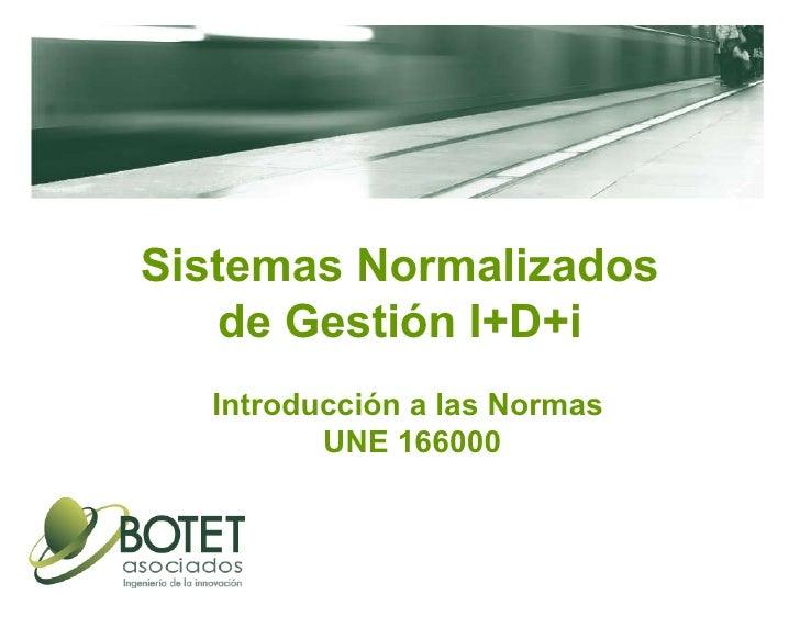 Sistemas Normalizados de Gestión I+D+i Introducción a las Normas  UNE 166000