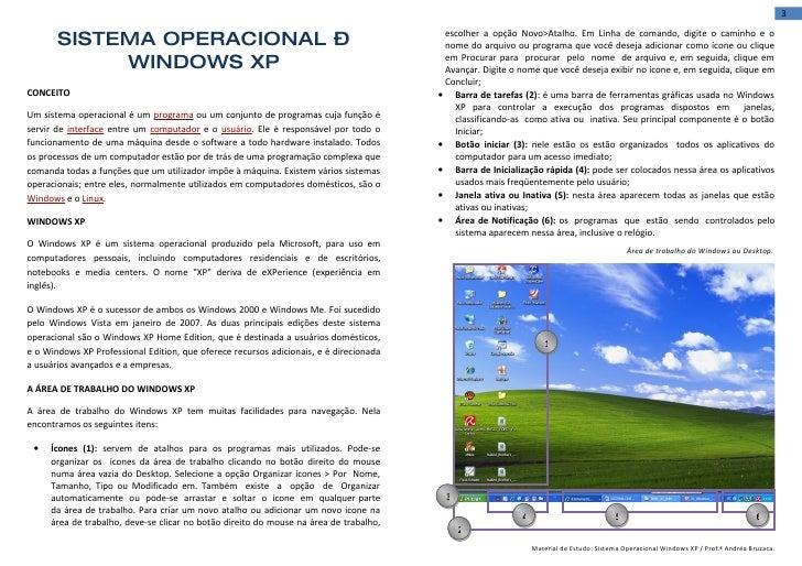3         SISTEMA OPERACIONAL –                                                             escolher a opção Novo>Atalho. ...