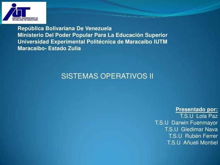 República Bolivariana De Venezuela<br />Ministerio Del Poder Popular Para La Educación Superior<br />Universidad Experimen...
