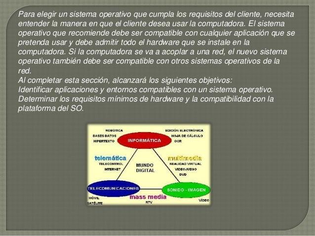 Para elegir un sistema operativo que cumpla los requisitos del cliente, necesita entender la manera en que el cliente dese...