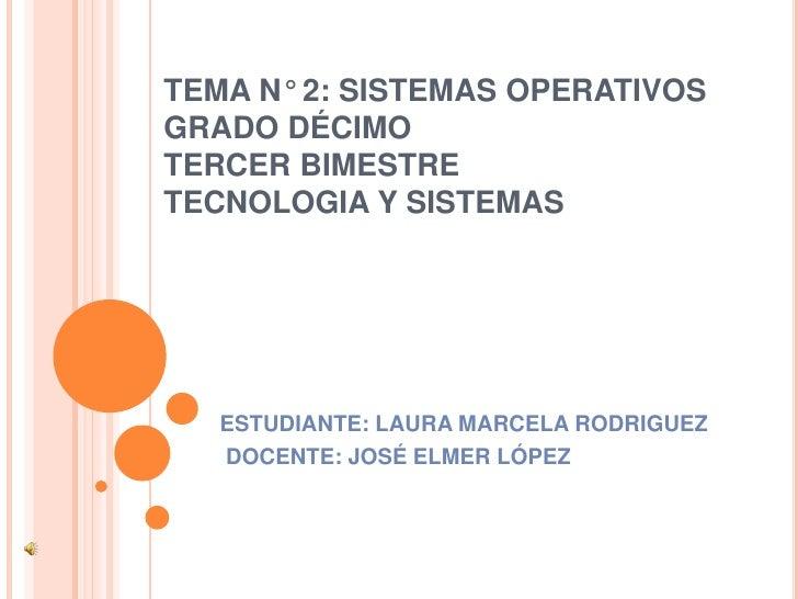 TEMA N° 2: SISTEMAS OPERATIVOSGRADO DÉCIMOTERCER BIMESTRETECNOLOGIA Y SISTEMAS<br />ESTUDIANTE: LAURA MARCELA RODRIGUEZ<br...