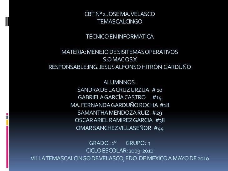 CBT N° 2 JOSE MA. VELASCOTEMASCALCINGOTÉCNICO EN INFORMÁTICAMATERIA: MENEJO DE SISITEMAS OPERATIVOSS.O MAC OS XRESPONSABLE...