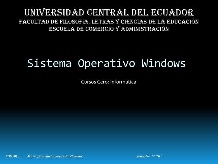 Universidad central del ecuador      Facultad de filosofía, letras y ciencias de la educación              Escuela de come...