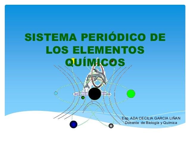 SISTEMA PERIÓDICO DE LOS ELEMENTOS QUÍMICOS  Esp. ADA CECILIA GARCIA LIÑAN Docente de Biología y Química