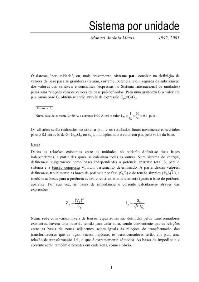 Sistema por unidade                                          Manuel António Matos                                 1992, 20...