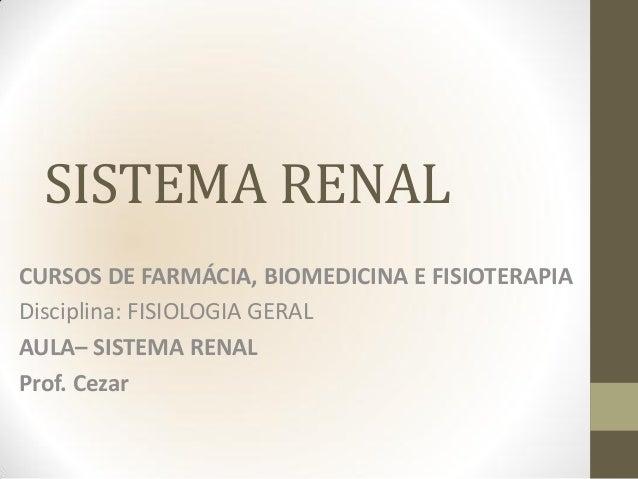 SISTEMA RENALCURSOS DE FARMÁCIA, BIOMEDICINA E FISIOTERAPIADisciplina: FISIOLOGIA GERALAULA– SISTEMA RENALProf. Cezar