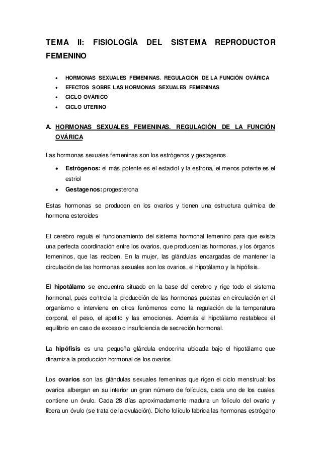 TEMA II: FISIOLOGÍA DEL SISTEMA REPRODUCTOR FEMENINO  HORMONAS SEXUALES FEMENINAS. REGULACIÓN DE LA FUNCIÓN OVÁRICA  EFE...