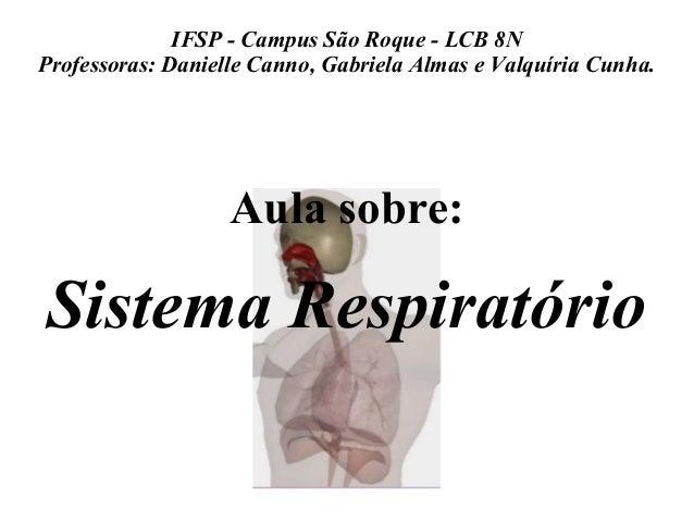 IFSP - Campus São Roque - LCB 8N  Professoras: Danielle Canno, Gabriela Almas e Valquíria Cunha.  Aula sobre:  Sistema Res...