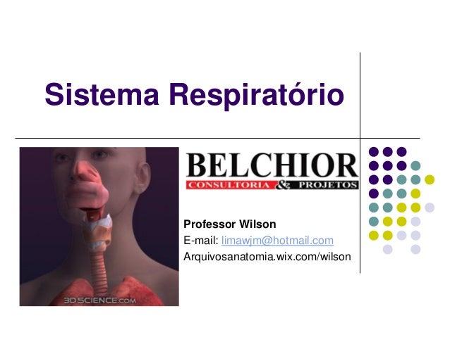 Sistema Respiratório  Professor Wilson  E-mail: limawjm@hotmail.com  Arquivosanatomia.wix.com/wilson