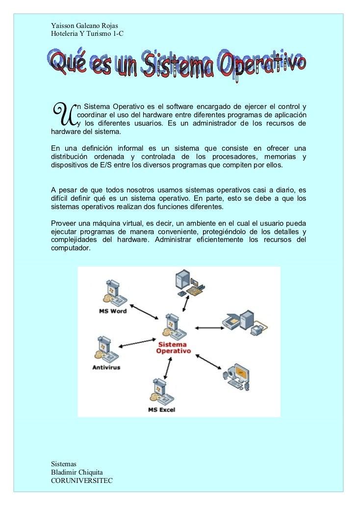 Yaisson Galeano RojasHoteleria Y Turismo 1-CU      n Sistema Operativo es el software encargado de ejercer el control y   ...