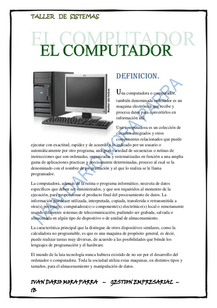 <br />lefttopdefinicion.<br />Una computadora o computador, también denominada ordenador es un maqu...