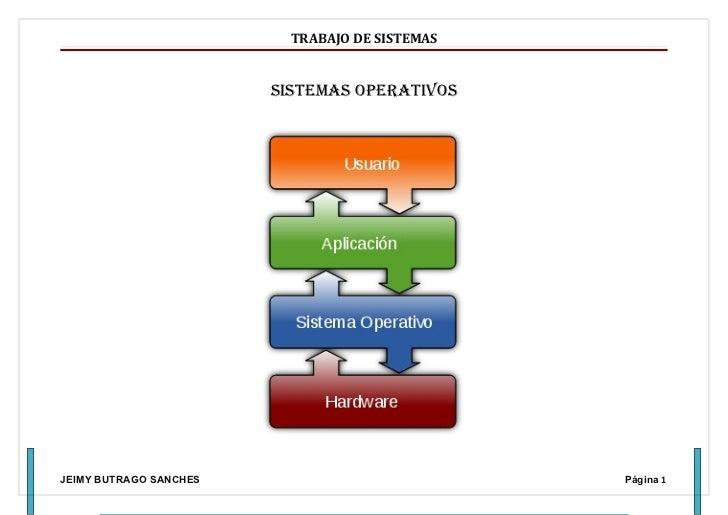 TRABAJO DE SISTEMAS                        SiStemaS operativoSJEIMY BUTRAGO SANCHES                           Página 1