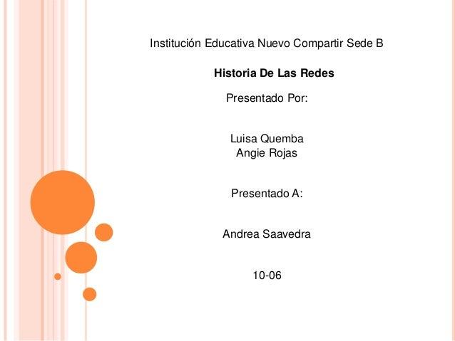 Institución Educativa Nuevo Compartir Sede B            Historia De Las Redes              Presentado Por:               L...