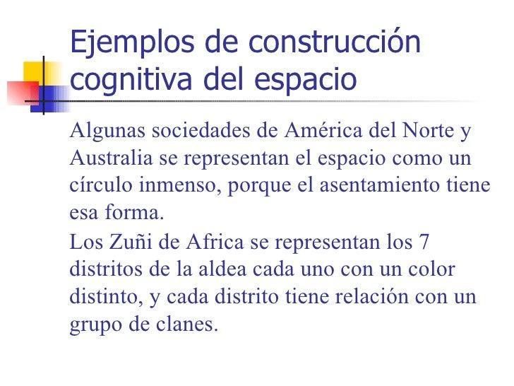 Ejemplos de construccióncognitiva del espacioAlgunas sociedades de América del Norte yAustralia se representan el espacio ...