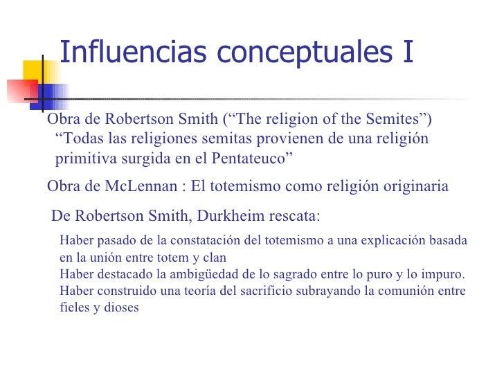 """Influencias conceptuales IObra de Robertson Smith (""""The religion of the Semites"""") """"Todas las religiones semitas provienen ..."""