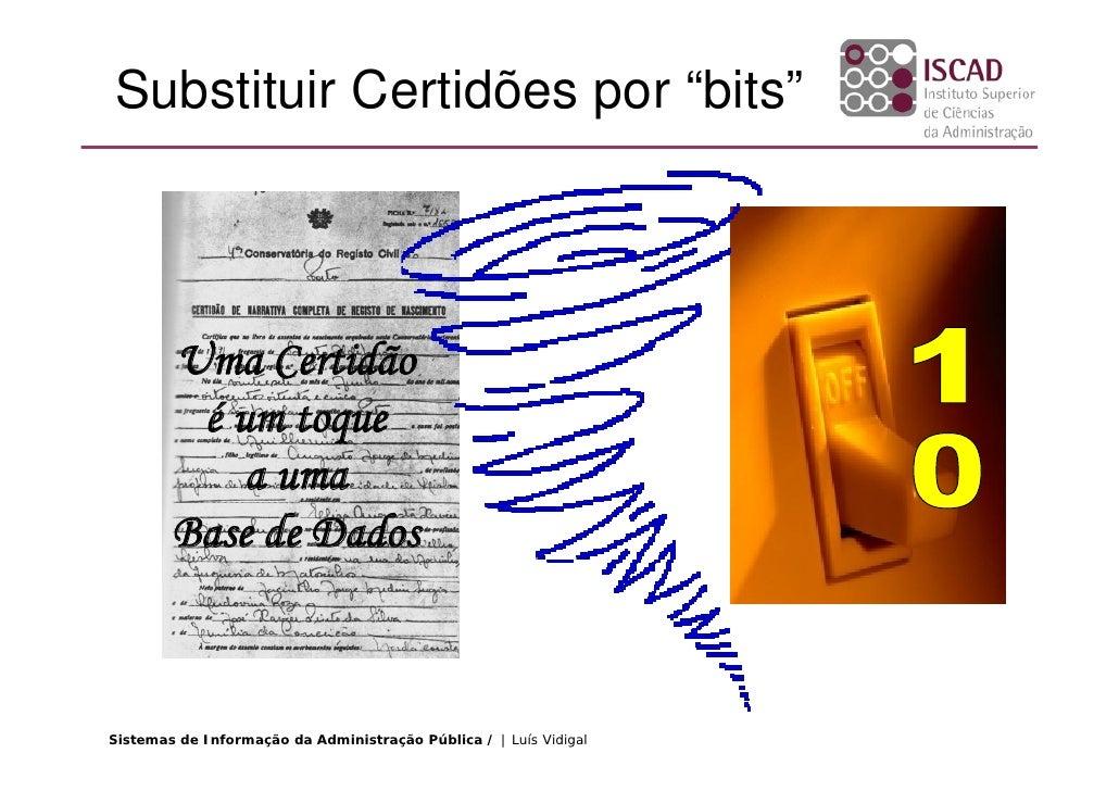 """Substituir Certidões por """"bits""""             Uma Certidão          é um toque             a uma         Base de Dados    Si..."""