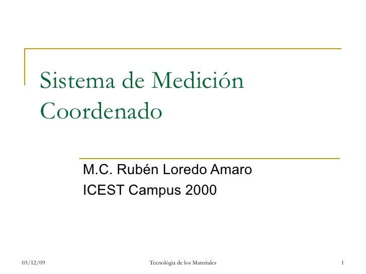 Sistema de Medición Coordenado M.C. Rubén Loredo Amaro ICEST Campus 2000