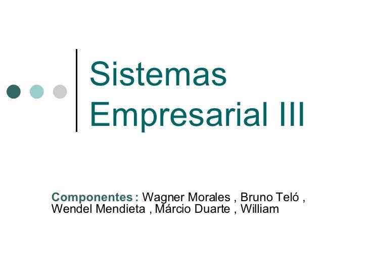 Sistemas Empresarial III Componentes :  Wagner Morales , Bruno Teló , Wendel Mendieta , Márcio Duarte , William