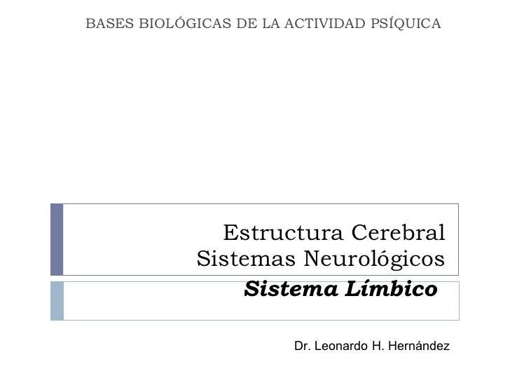 Estructura Cerebral Sistemas Neurológicos Sistema Límbico   BASES BIOLÓGICAS DE LA ACTIVIDAD PSÍQUICA  Dr. Leonardo H. Her...