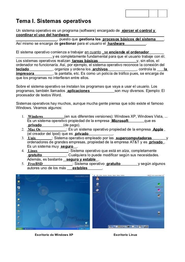 4ºTema I. Sistemas operativosUn sistema operativo es un programa (software) encargado de ejercer el control ycoordinar el ...