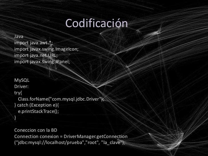 CodificaciónJavaimport java.awt.*;import javax.swing.ImageIcon;import java.net.URL;import javax.swing.JPanel;MySQLDriver:t...