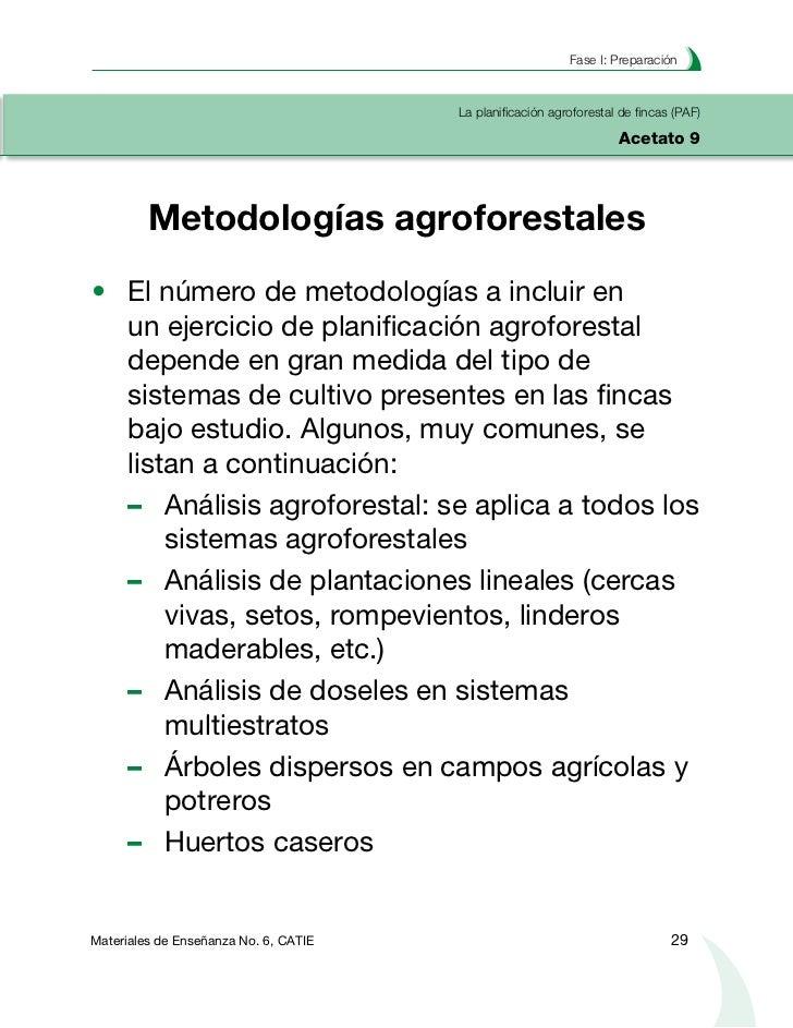 Planificación agroforestal de fincasLa planificación agroforestal de fincas (PAF)Acetato 10  Diagnóstico y diseño agrofore...