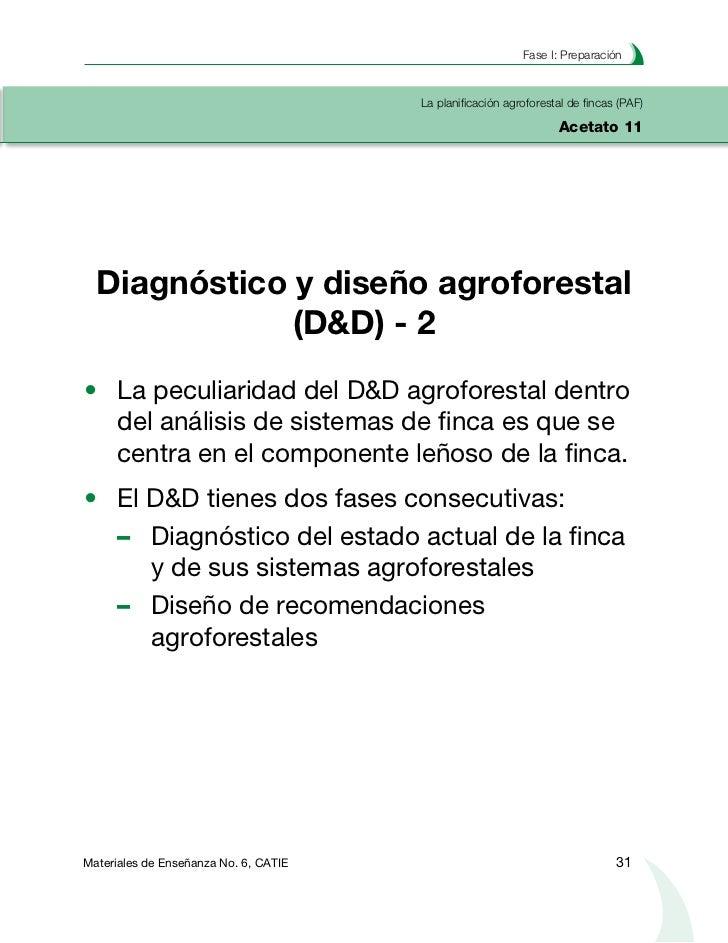 Planificación agroforestal de fincasLa planificación agroforestal de fincas (PAF)Acetato 12       El diagnóstico de la fin...