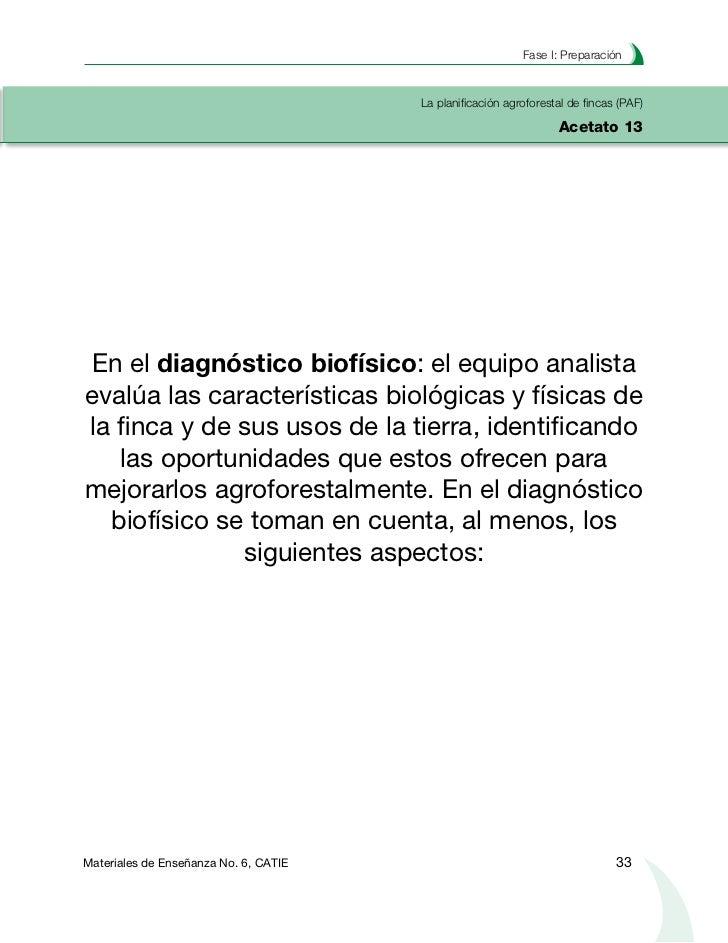 Planificación agroforestal de fincasLa planificación agroforestal de fincas (PAF)Acetato 14                 Diagnóstico bi...