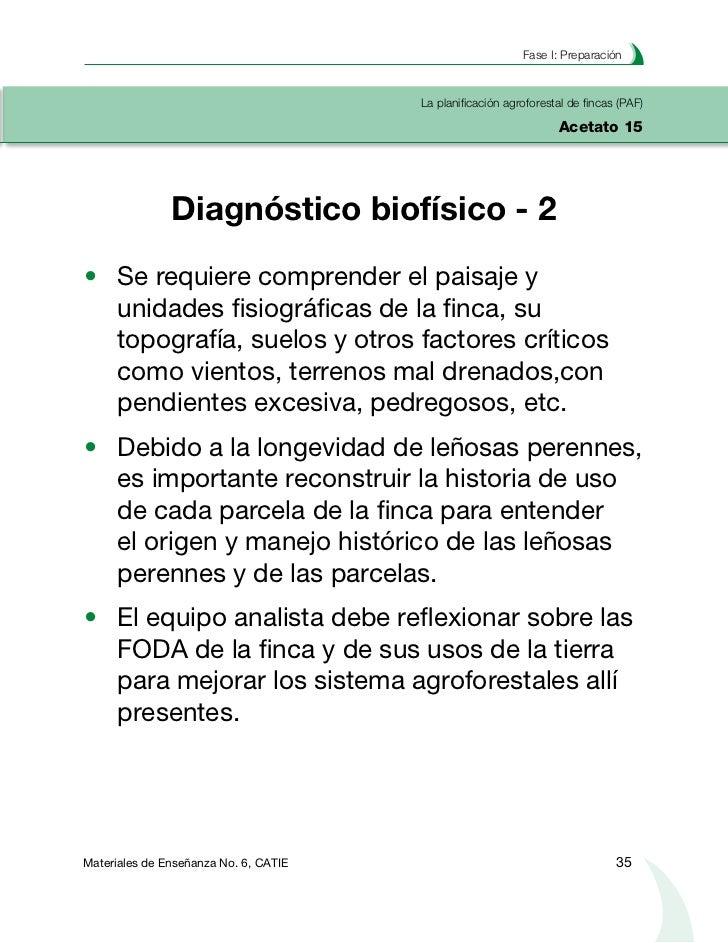 Planificación agroforestal de fincasLa planificación agroforestal de fincas (PAF)Acetato 16                 Diagnóstico Bi...