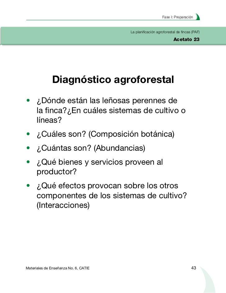 Planificación agroforestal de fincasLa planificación agroforestal de fincas (PAF)Acetato 24   Finca Victor: número de leño...