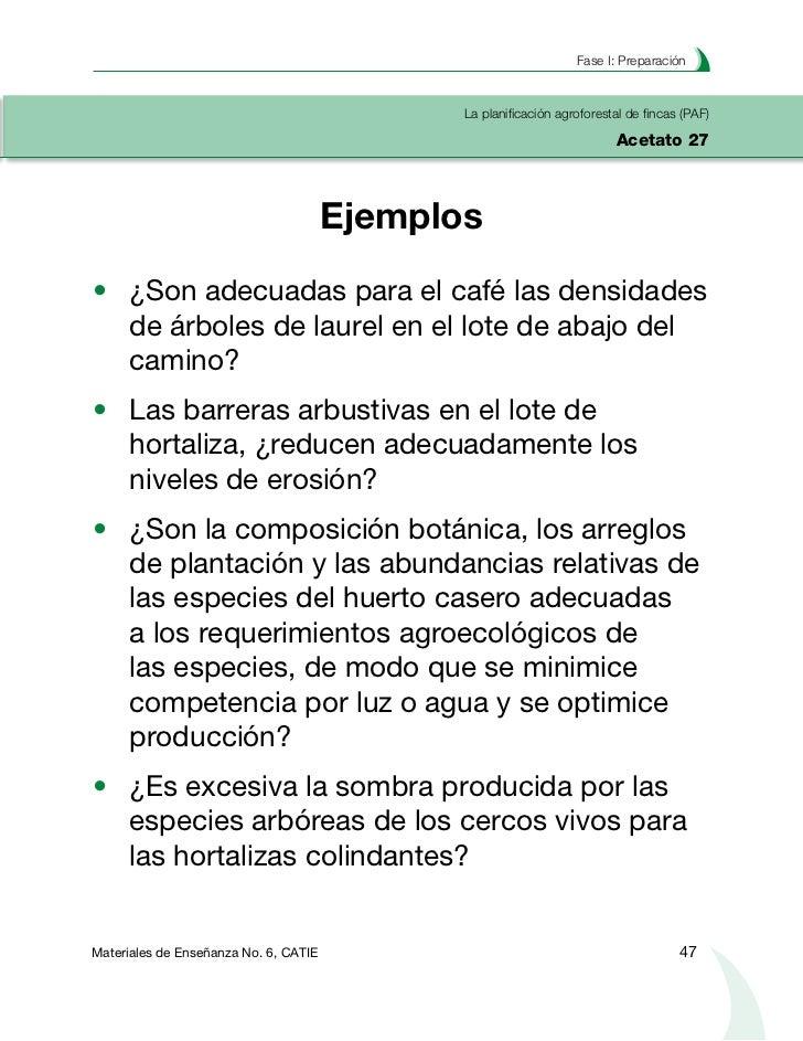 Planificación agroforestal de fincasLa planificación agroforestal de fincas (PAF)Acetato 28                          Diagn...