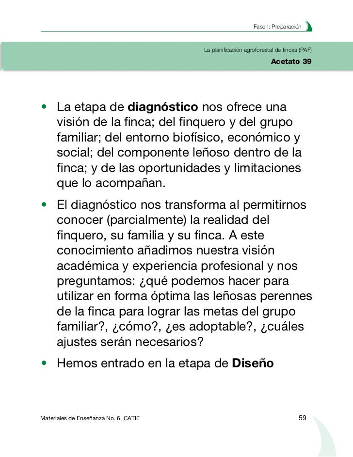 Planificación agroforestal de fincasLa planificación agroforestal de fincas (PAF)Acetato 40          Diseño de recomendaci...