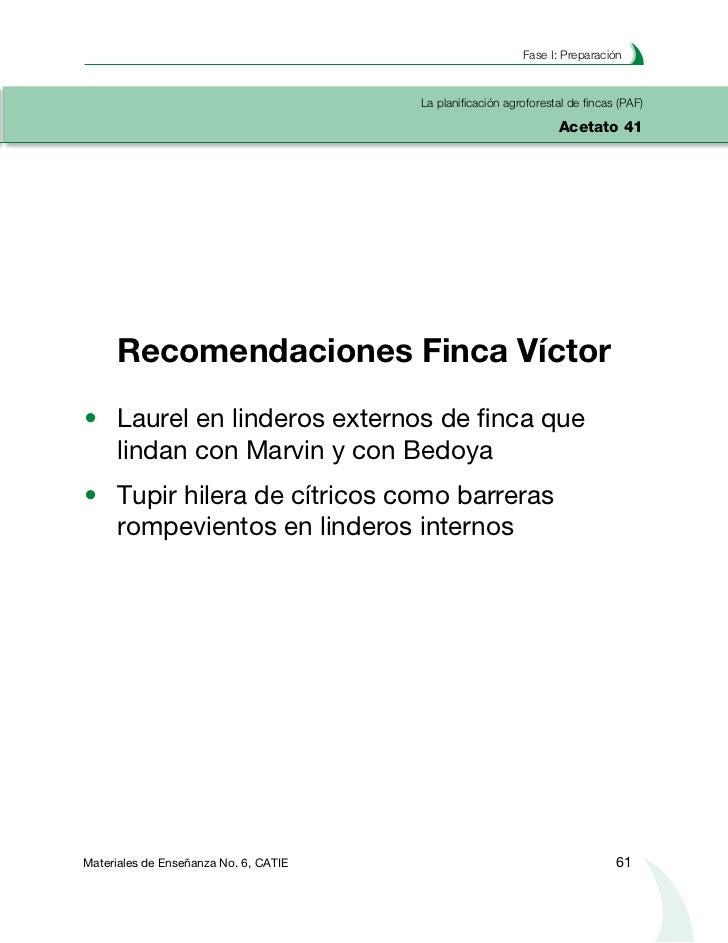 Planificación agroforestal de fincasLa planificación agroforestal de fincas (PAF)Acetato 42     Recomendación #1 Finca Víc...