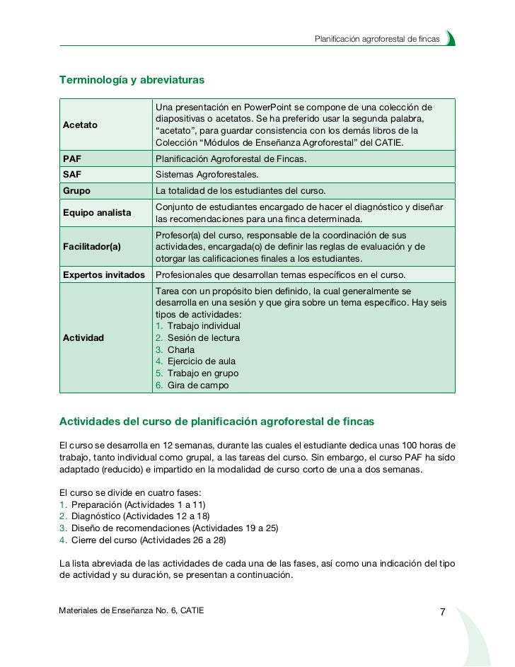 Planificación agroforestal de fincas                                     Fase de preparación         Actividad 1. Selecci...