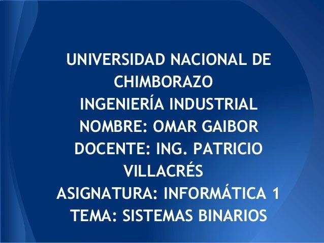 UNIVERSIDAD NACIONAL DECHIMBORAZOINGENIERÍA INDUSTRIALNOMBRE: OMAR GAIBORDOCENTE: ING. PATRICIOVILLACRÉSASIGNATURA: INFORM...