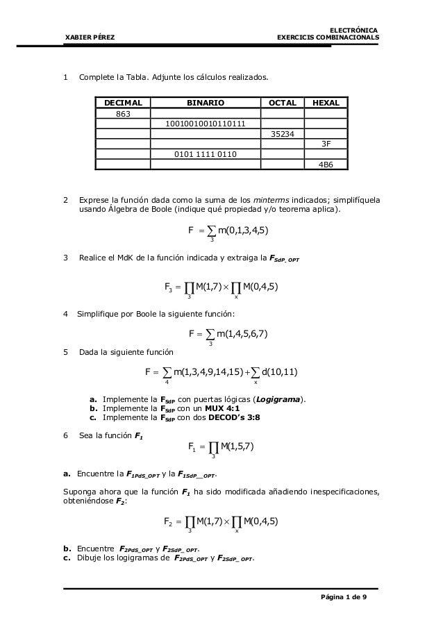 ELECTRÓNICA XABIER PÉREZ EXERCICIS COMBINACIONALS Página 1 de 9 1 Complete la Tabla. Adjunte los cálculos realizados. 2 Ex...