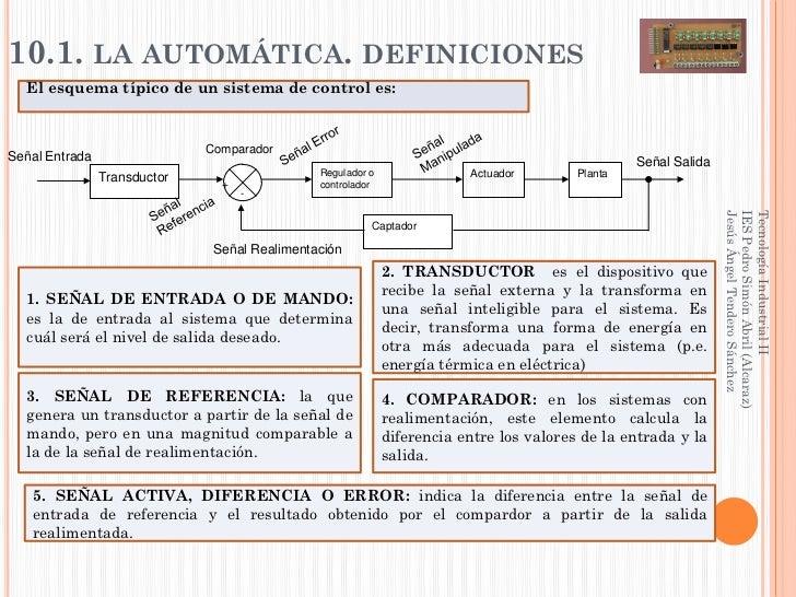 10.1. LA AUTOMÁTICA. DEFINICIONES  El esquema típico de un sistema de control es:                              ComparadorS...