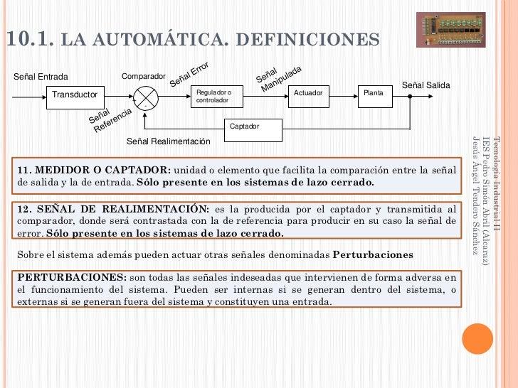 10.1. LA AUTOMÁTICA. DEFINICIONESSeñal Entrada          Comparador                                                        ...