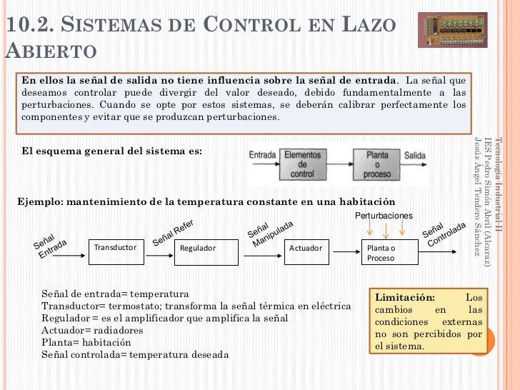 10.2. SISTEMAS DE CONTROL EN LAZOABIERTO En ellos la señal de salida no tiene influencia sobre la señal de entrada. La señ...