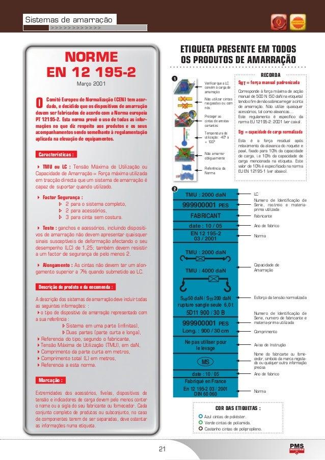 21 NORME EN 12 195-2 Março 2001 O Comité Europeu de Normalização (CEN) tem acor- dado, e decidido que os dispositivos de a...