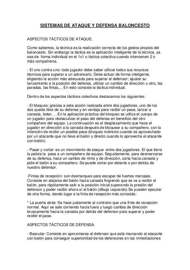 SISTEMAS DE ATAQUE Y DEFENSA BALONCESTO ASPECTOS TÁCTICOS DE ATAQUE. Como sabemos, la técnica es la realización correcta d...