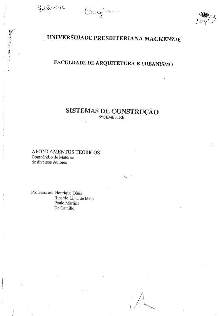 Sistemas Construtivos -  apontamentos teóricos